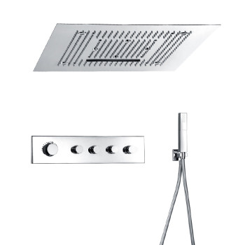 Multi jet thermostatic rain shower systems with handheld