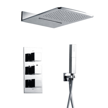 Dual handle bathroom chrome brass thermostatic shower faucets