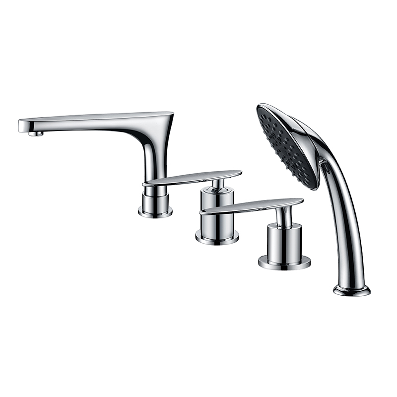 Deck mounted chrome brass bathtub faucet with hand shower
