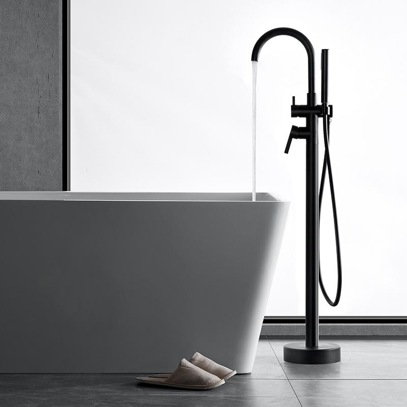 Multiple color single handle brass freestanding tub faucet