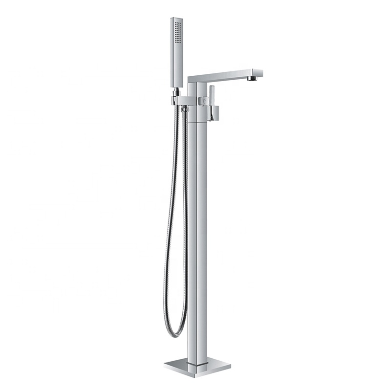 Single handle chrome brass floor mount bathtub faucet