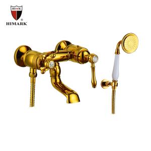 Torneira de chuveiro de latão de bronze antigo com handheld em ouro