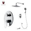 Modern wall mounted tub and shower faucets in chrome