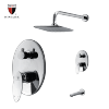 Wall mounted polished chrome bath tub and shower faucet set
