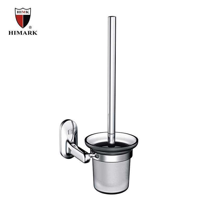 Modern design bathroom accessories glass toilet brush holder