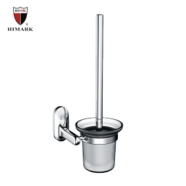 modern design bathroom accessories glass toilet brush holder in zinc alloy