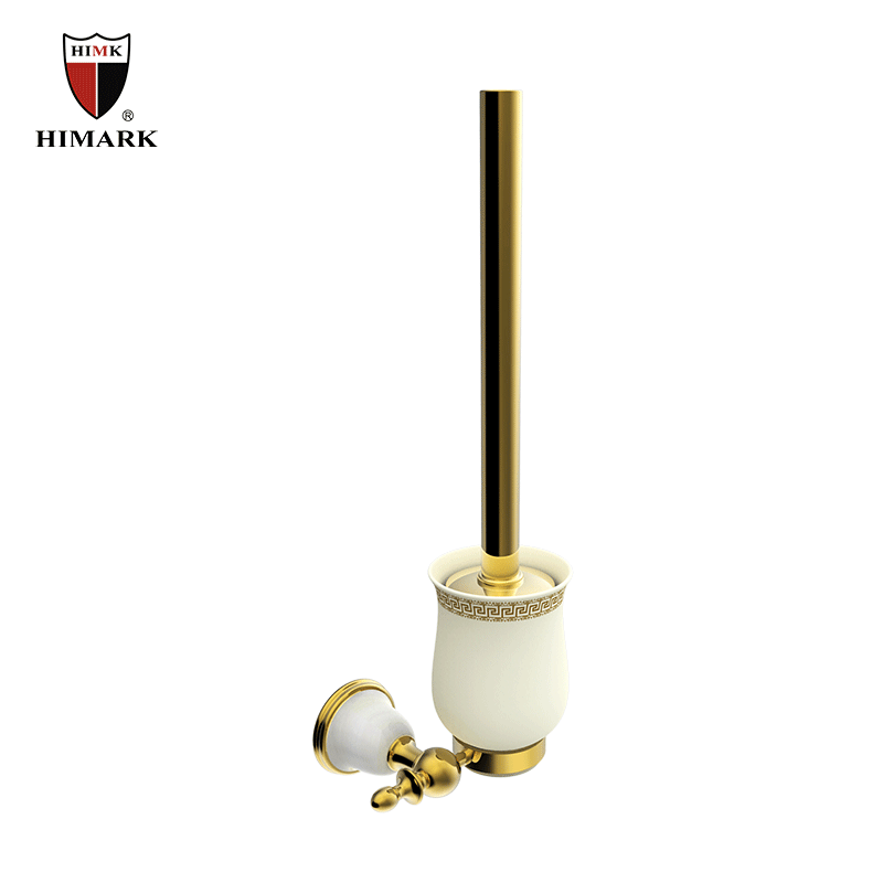 China unique jade stone toilet brush holder in PVD gold
