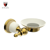 PVD gold plated wall mounted ceramic soap dish for shower
