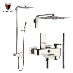 exposed single handle bathroom copper shower faucet in brushed nickel