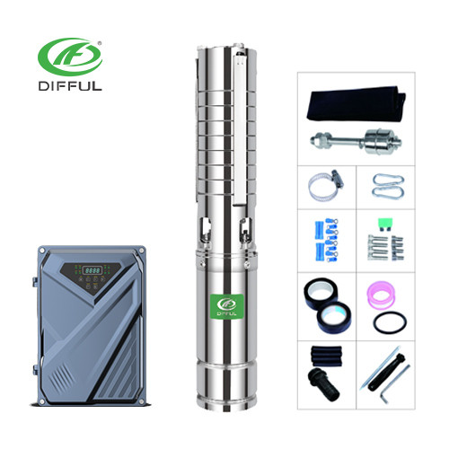 4inch AC/DC Hybrid pump 2hp solar water pump Stainless steel impeller solar submersible pump price