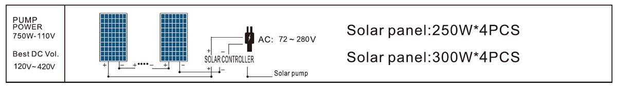 DCPM21-14-110-750-A/D surface pump solar panel