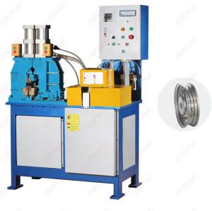 Hydraulic flash butt welding machine for motor wheel rim welding.