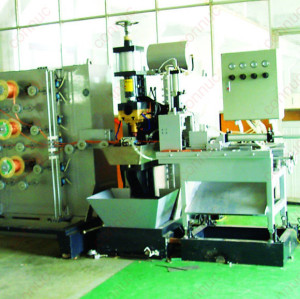 Medium frequency electic compacting welding machine for copper braid elements, with automatic feeding and cutting