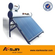 A-SUN 15/20/24/30 Tubes Pre-heated  unpressurized stainless steel solar water heater system