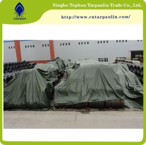 Green 19oz steel tarpaulin for cargo cover