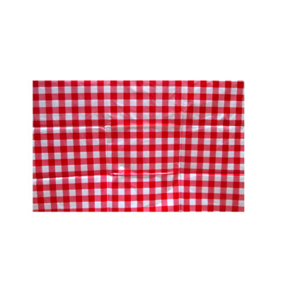 red square disposable printed plastic tablecloth