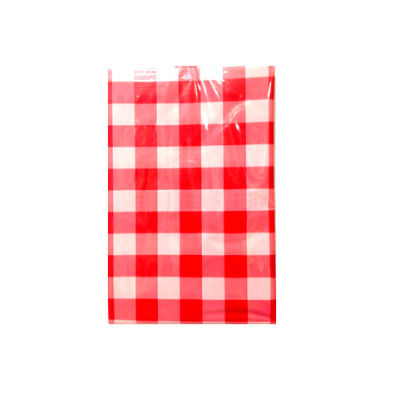 plastic disposable red and white Square Birthday table cover