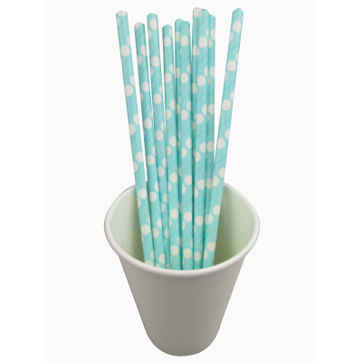 Blue dot Paper Straw Party decorative for birthday items