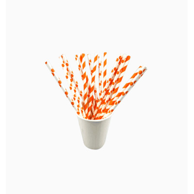 Orange Disposable eco-friendly paper straw