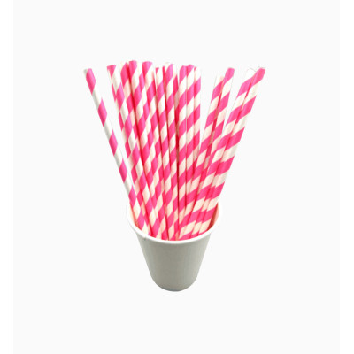 Striped paper straws wholesale pink stripe hard plastic drinking straw