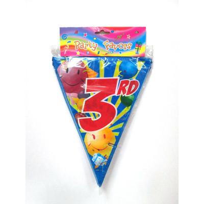 wholesale professional 3rd birthday bunting ballon string flag