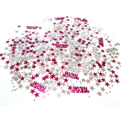 Pink carnival decoration happy birthday shape confetti