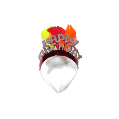 Brilliant red with feather pageant crowns for birthday celebration