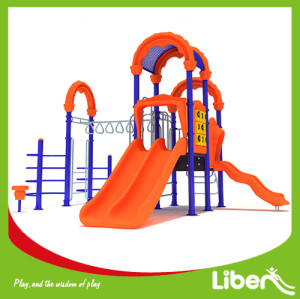 Amusement Preschool children plastic swing and slide set indoor outdoor playground equipment