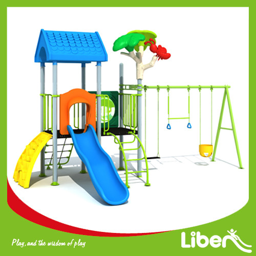 Funny Park Outdoor Plastic Play Station with swing sets Factory