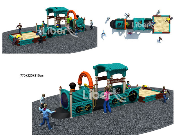Plastic Outdoor Amusement Park Playground, Outdoor Playground Play House with Sandbox Pit