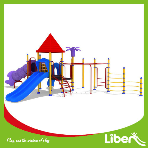 ISO9001 Approved Playground Slide Combination with Metal Climbing Structure