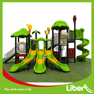 China good quality no roof Plastic Slide Playground with swing For Sale
