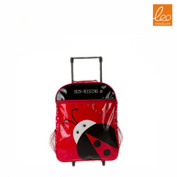 Cute ladybird cartoon  kids school pu trolley luggage bag