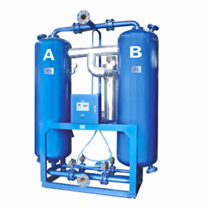 Heated regenerative desiccant compressed air dryer