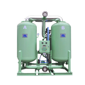 Heated desiccant air dryer