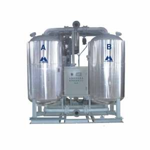Blower heat zero air loss desiccant air dryer with low pressure dew point