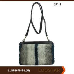 Wholesale PU Leather Bags with fur women handbags