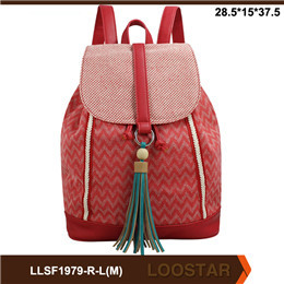 2016 Best Selling Stripe ladies  Canvas Bag ladies backpack