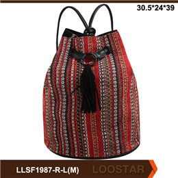 2016 New Style Stripe ladies  Canvas Bag Fashion ladies backpack For Sale