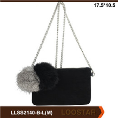 Good Quality  Mini Chain Small bags With Fur for ladies pu leather bags