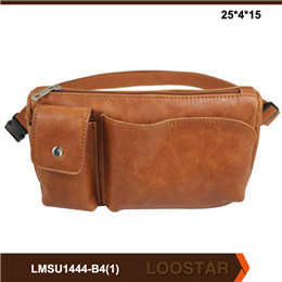 Brown Color PU Leather Waist Bags for Men