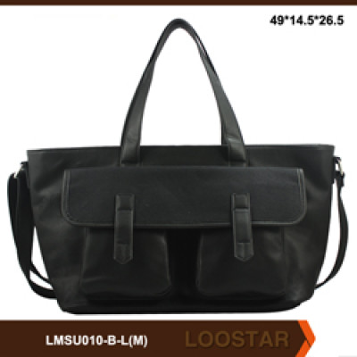 Black Classical Mens Tote Bag Fashion Big Size PU Two Sided Shoulder Bag for Men
