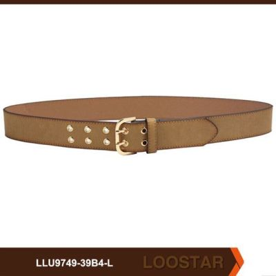 square light gold buckle suede lady belt