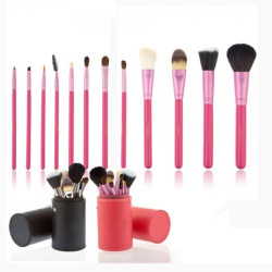12pcs Wood handle high quality Private label rose gold ferrule Makeup Brush set