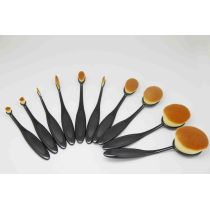 10 Pieces Soft Oval Toothbrush Foundation Blush Cosmetic Makeup Brush Sets