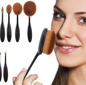 Latest Design Silver/White 10pcs Multipurpose Mirror Tooth Brush Shaped Oval Makeup Brush Set