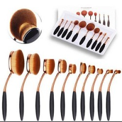 2016 new hotsell high quality oval tooth shaped makeup brush 10 pcs/set