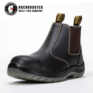 LOKA---ROCKROOSTER AC Series Men's work boots Ankle height elastic sided boots with steel toe cap