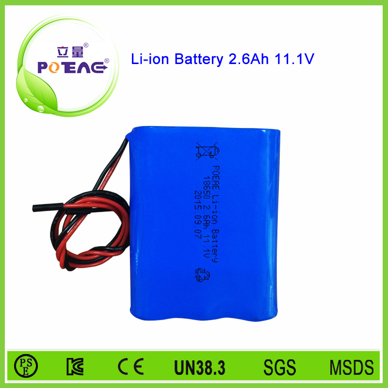 3s1p 18650 12v 2600mah Rechargeable Lithium Battery Pack