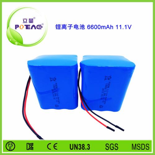 11.1V ICR18650 6600mAh锂电池组